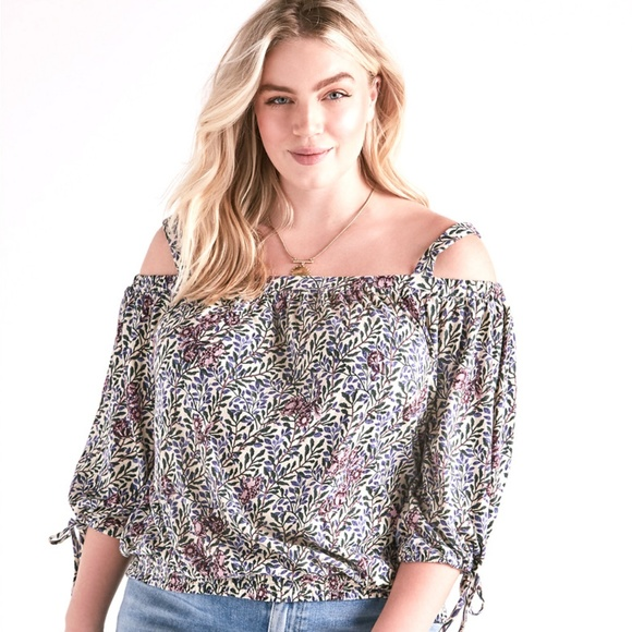 88e129ee20180 LUCKY BRAND Floral Cold Shoulder Peasant Top